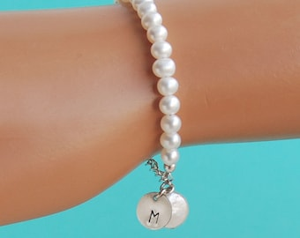 Initial Charm Flower Girl Bracelet, Pearl Girl Bracelet, Personalized Child Jewelry, Birthday Girl Gift, Real Freshwater Pearls, SIZE SMALL