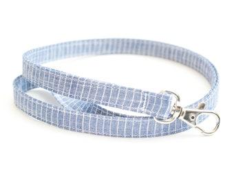 Blue Striped Chambray Skinny Fabric Lanyard - Thin Lanyard - 1/2 Inch Wide Key Necklace - 15.5-19.5 Inch Long Key Strap - Teacher Lanyard