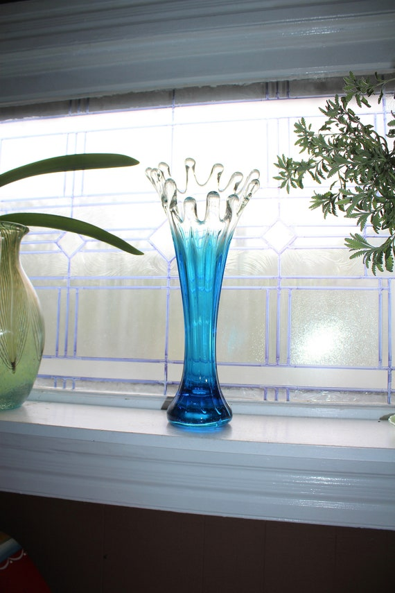 "Large Blue and Clear Swung Glass Vase 17.5"" Vintage 1960s"