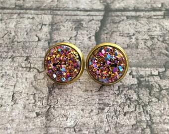 Magenta Rainbow Iridescent Faux Druzy Earrings with Bangle OPTION
