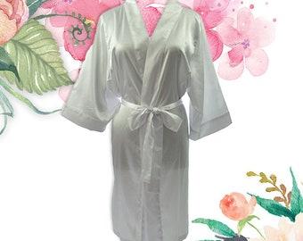 Satin Knee Length Bridal Robe Bridesmaids Robe – White