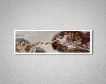 The Creation of Adam by Michelangelo Fine Art Print - Poster Paper, Sticker or Canvas Print / Gift Idea