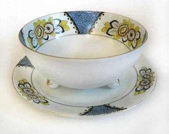 Noritake Art Deco Mayonnaise Bowl And Plate Hand Painted Circa 1930