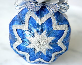 Handmade Quilted Ornament-Blue-Silver-Wrapped in Blue