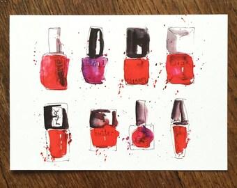 Postcard: watercolor nail polish illustration