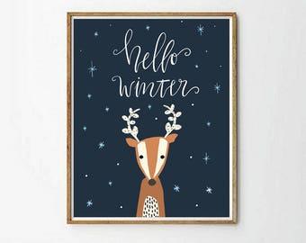 reindder print, nursery reindder, christmas decor, animal decor, animals print, nursery decor, hello winter print, 4 SIZES INCLUDED