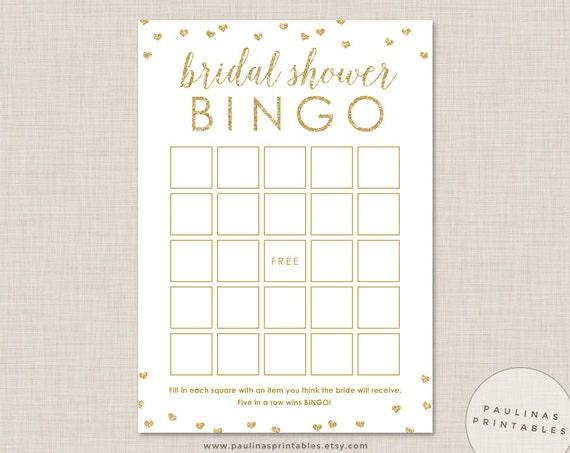 Glitter Hearts Bridal Shower Bingo Game Printable Shower