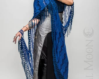 """NEW Specialty: The """"Gypsy Queen"""" Royal Blue Hooded Lace Cape with Blue Long Fringe Trim by Opal Moon Designs (One Size)"""