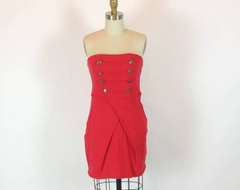 Vintage 80s Military Dress | Red Bodycon Fitted Dress | Medium