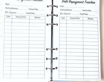 Personal Size Debt Repayment, Debt Tracker, Debt Log Inserts for Ringbound Planners