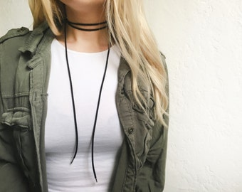Black suede bolo choker with silver endings - tie choker, suede choker, leather choker, suede necklace