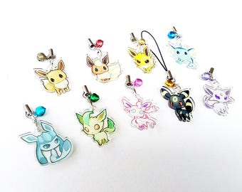 """Pokemon Eevee Evolutions 1"""" Mini Acrylic Charm with Phone Strap (Double Sided Front & Back)"""
