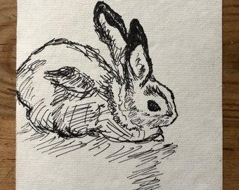 Bunny original artwork, rabbit ink illustration
