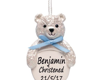 Christening Gifts, Teddy Bear, Baby Gifts in Blue for Newborn, Personalised by Truly for You