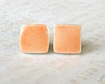 SALE! Porcelain Earrings. Tangerine Orange Squares. Melon. Coral. Papaya. Post or Stud Earrings. Surgical Steel. Simple. Lightweight. Comfy