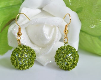 Knitted earrings, mothers, Stud Earrings balls earrings for summer, knitted jewelry, punto peruano,