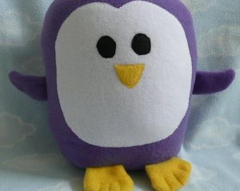 Plush Purple Penguin Pillow Pal, Baby Safe, Machine Washable