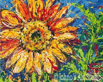 Sunflower Painting, Floral art, 16 x 20 giclee print by Johno Prascak