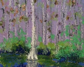 "Original Impressionist Landscape Pastel Painting, Everglades Cypress Swamp #1, 4"" x 6"""