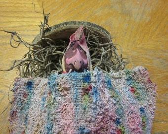 Fairy Garden Miniature Woodland Bed with Baby Bird in Pink