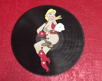 Hand Painted Cowgirl Cutie Record Wall Hanging