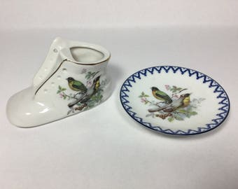Your Choice, Baby Shoe Mini Planter or Mini Bird Plate, both Made in Japan