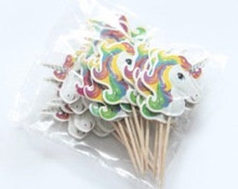 24 UNICORN Cupcake Toppers Handmade baking cupcakes Rainbow