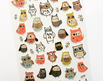 Owl Mini Stickers, Owl Card Embellishments, Owl Planner Stickers, Envelope Seals, Party Favours, Reward Stickers, Hoot Scrapbooking Stickers