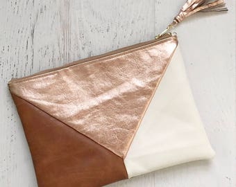 Metallic Geometric White, Rose Gold Leather & Black Faux Leather Clutch - Gift for her, Birthday, Anniversary, Bridesmaid
