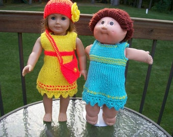 104) 50% off A Line Dress Willow Edge on Bottom Hand Made Knit Doll Clothes Toys ANY 18 Inch Doll American Girl Cabbage Patch Dolls