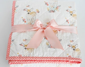 Baby Quilts Handmade, Forest Nursery Quilt, Coral Baby Bedding, Quilted Baby Blanket, Fawn Baby Blanket, Enchanted Forest Bedding, Baby Gift