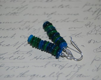 Blue Green Natural Shell Dangled Earrings