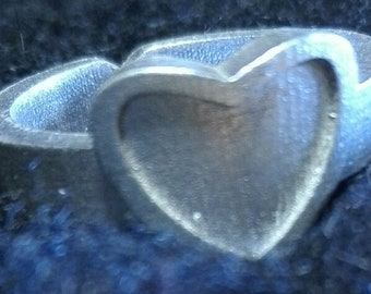 Heart ring printed in 3d printer and powering in silver 925 clean and minimalist