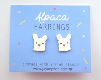 Alpaca Earrings - Shrink Plastic Alpaca Stud Earrings