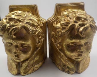 Set of 2 - Vintage Cherub Head Book Ends - Gold Finish - Shabby Cottage - Victorian Style - Ceramic