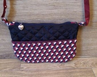 Navy Blue quilted fabric shoulder bag