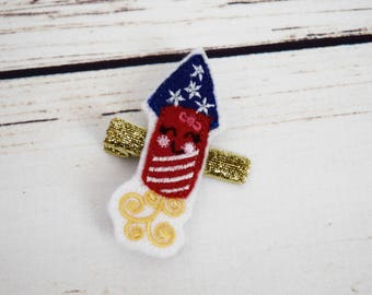 Handcrafted Patriotic Rocket Feltie Clip - Small Hair Clip - Alligator Clip - Baby Girl Bows - Rocket Accessory - Christmas Stocking Stuffer
