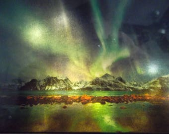 Netherlands Northern Lights Lighted and Framed Picture