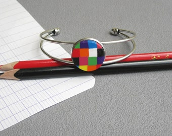 Bracelet maîtresse, bracelet argenté, cadeau maîtresse école: bracelet coloré Elmer éléphant, pâte polymère fimo, merci maîtresse
