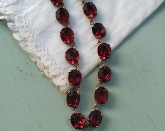 Necklace 50' copper, brass and red glass, oval faceted stones