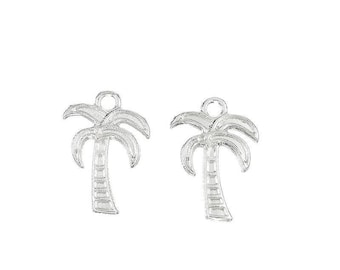 x 2 Palm trees pendant charm 18 mm silver plated tropical.