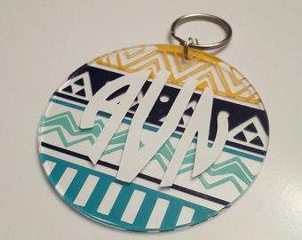 Personalized Aztec Pattern Keychain with Monogram
