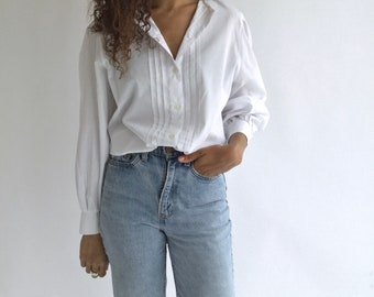 Vintage White Puff Sleeve Shirt | Pleat Blouse Shirt | Gathered Cotton Puffy Puff Pouf Sleeves | Provence Romantic
