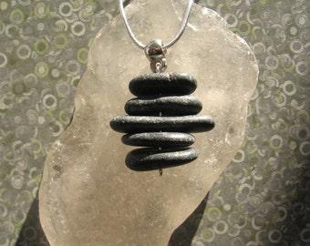 Stacked Lake Superior Basalt Zen Stone Necklace Pendant