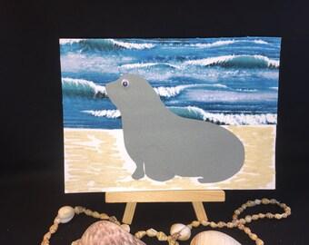 Seal greeting card, OOAK card, beach card, childrens card, fabric scrap card