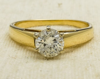 Classic Flattering 14K Yellow Gold 1.00ct Round Cut I1/I Natural Diamond Solitaire Engagement Ring Size 9 - 4.3 grams FREE SHIPPING!