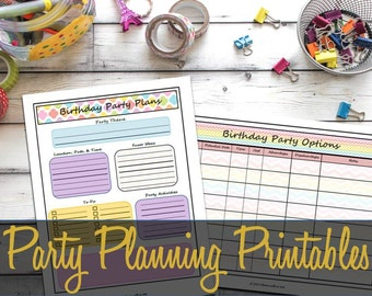 Party Planning Printable Pages, Party Guest List, Big Happy Planner, Arc, Martha Stewart Discbound, Event Planning - INSTANT DOWNLOAD