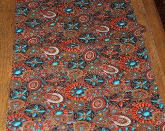 """SALE : Southwest style Fabric,Table Runner ,Awesome   42 """" long by 13 1/2""""  Inches wide  (No batting)"""
