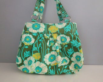Pleated Purse, Large Shoulder Bag, Floral Shoulder Bag, Green Handbag, Fabric Shoulder Bag, Diaper Bag Tote