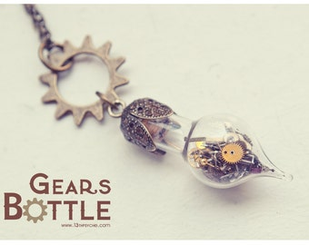 Steampunk necklace,Steampunk bottle necklace,Gears bottle jewelry ,glass vial necklace,Steampunk jewelry,Inspirational Gift for women